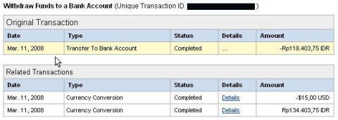 Pengambilan PayPal ke BCA 1