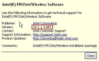 Versi Driver Intel PRO 2200BG